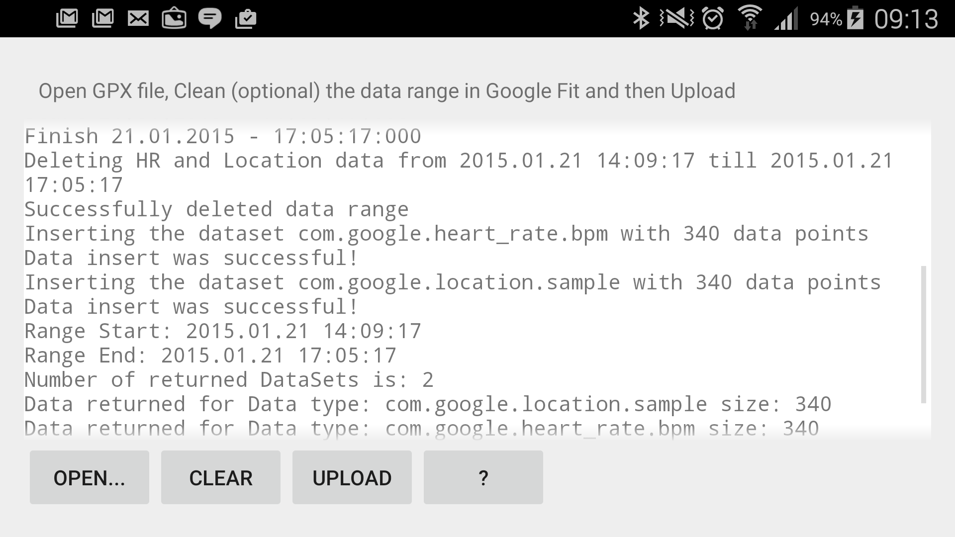 GPX Import to Google Fit - Data Formats, Export and APIs